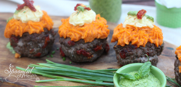 Mini Sweet Potato & Parsnip Meatloaf {paleo, dairy, egg, gluten free}