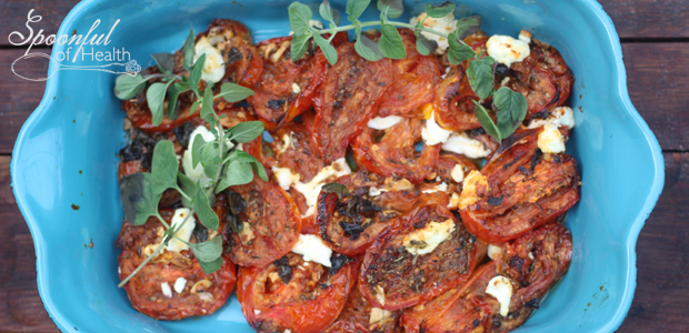 Slow Roasted Garlic & Oregano Tomatoes with Goat Cheese {paleo, gluten free & vegan option}