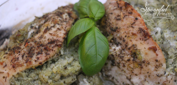 Basil & Artichoke Stuffed Chicken with Cashew Cheese {paleo, dairy & gluten free}