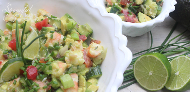 Shrimp Avocado & Mint Salad {paleo, dairy & gluten free, vegan option}